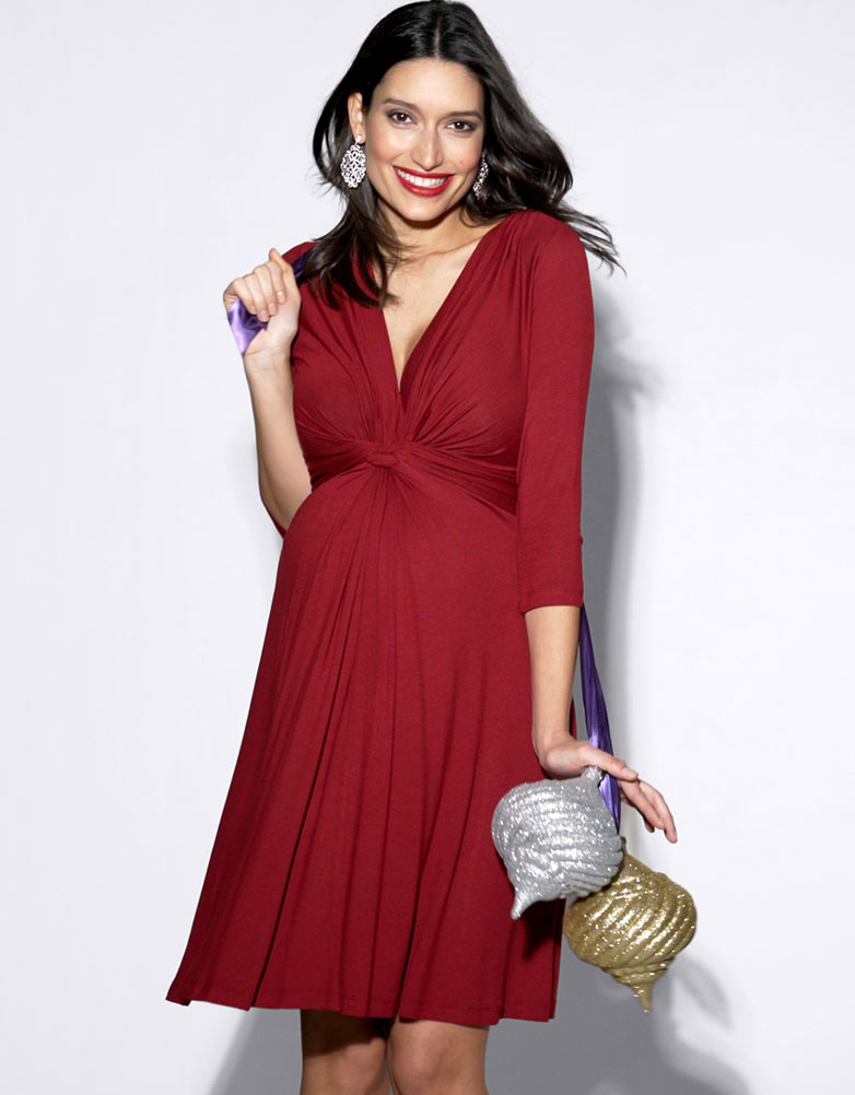 Grossesse Nouée RougeSeraphine Manches Robe ¾ vN08nmwO